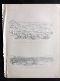 Baird 1857 Antique Print. Monument & Prairie, San Bernadino, California